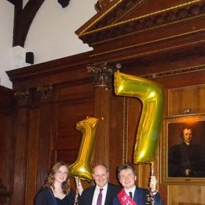 Lee (JCR President), Ellen (JCR Vice-President) and Roger Mosey (Master of the College) at Halfway Hall