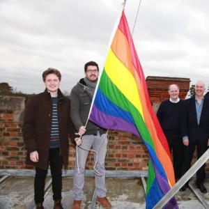 Selwyn raised the rainbow flag above college on Monday February 1st for LGBT History Month.
