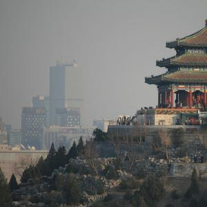 Sam's year abroad_ Pavilion in Jingshan Park, with Beijing's CBD in the distance, as seen from Beihai Park